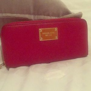 Beautiful red leather wallet